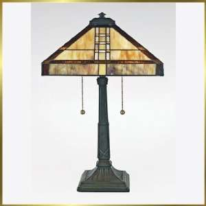 Tiffany Table Lamp, QZTF6882VB, 2 lights, Antique Bronze, 14 wide X