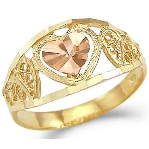 14k Yellow and Rose Two Tone Gold Small Heart Love Ring Jewelry