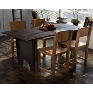 5 Piece Metal Dining Table and Teak Chair Set Furniture & Decor