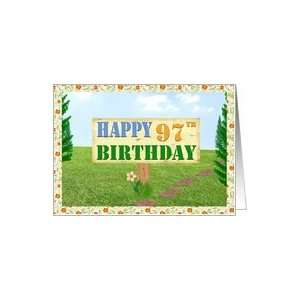 Happy 97th Birthday Sign on Footpath Card Toys & Games
