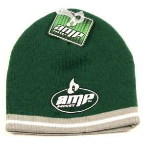 Amp Energy green beanie with gray tip hat/cap Sports