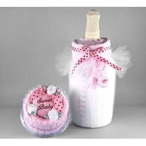 Pink Baby Towel Cake & Bottle of Milk Unique Gift Set for