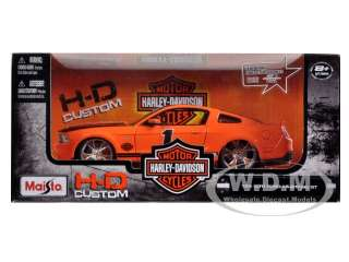 scale diecast model car of 2011 ford mustang gt harley davidson orange