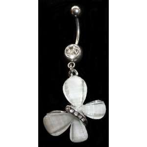 Butterfly (large) CZ Stone Dangle Belly Ring 316l Surgical
