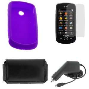 Purple Silicone Skin Case+LCD Screen Protector+Black Car Charger+Black