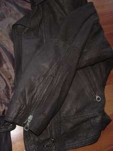 BIKER 80s CAFE RACER BLACK LEATHER vtg JACKET early punk unisex Mens M