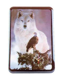 White Wolf Wolves Eagle Photo Laqured Wood WALL Clock